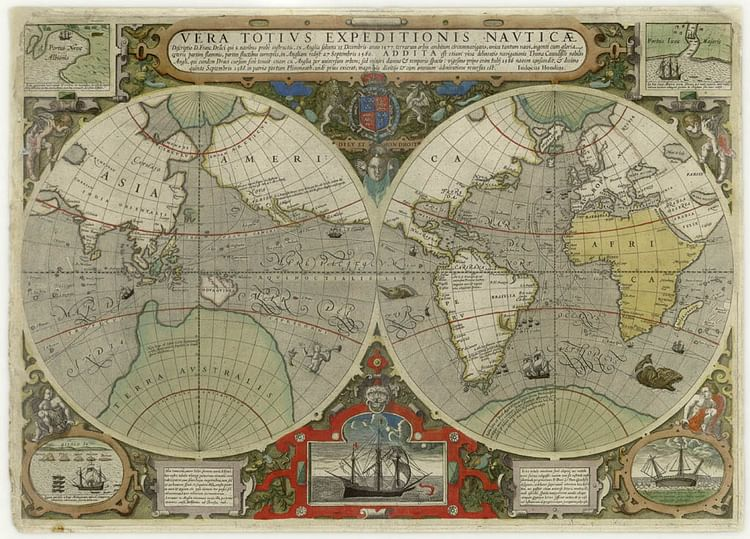 Map Showing Drake's Circumnavigation of the Globe in 1577-80 CE