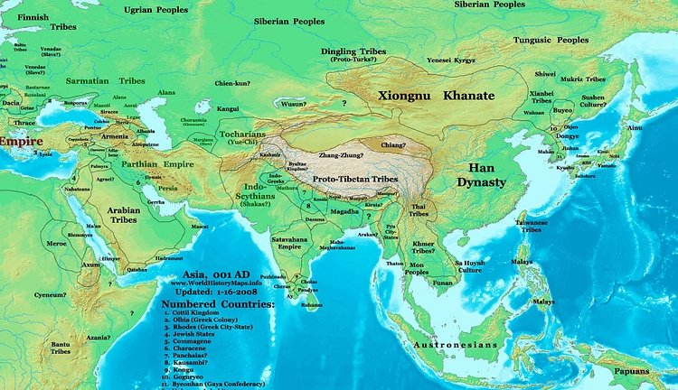 Map of the Eastern Hemisphere (1 CE) (Illustration ...