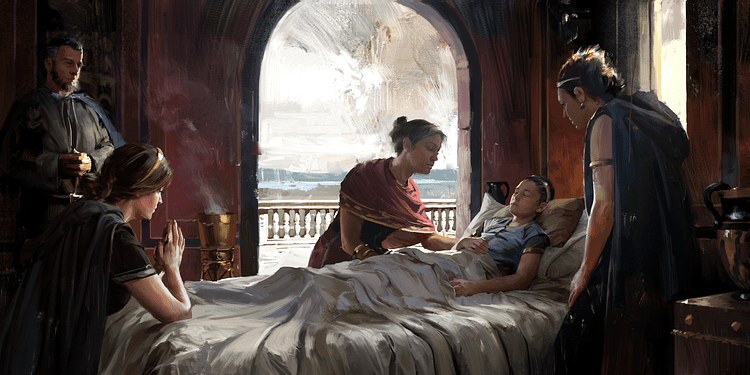 Artist's Depiction of an Ailing Greek Prince