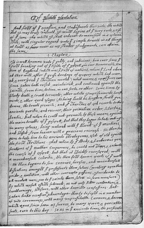 Page of Bradford's 'Of Plymouth Plantation