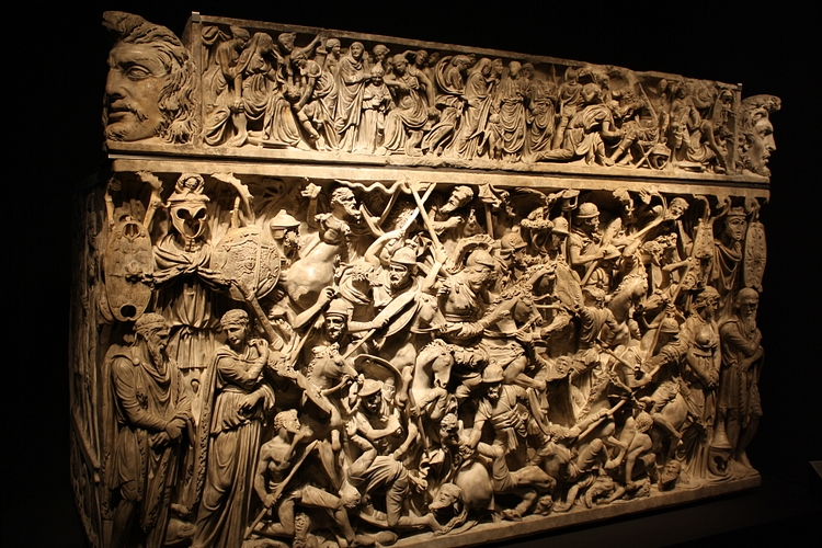 Roman Sarcophagus with War Scene
