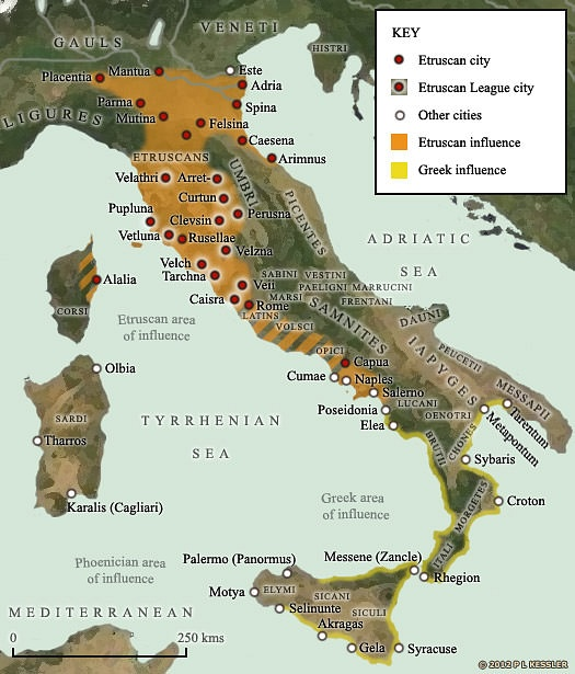 Map of Etruscan and Greek influence in Italy