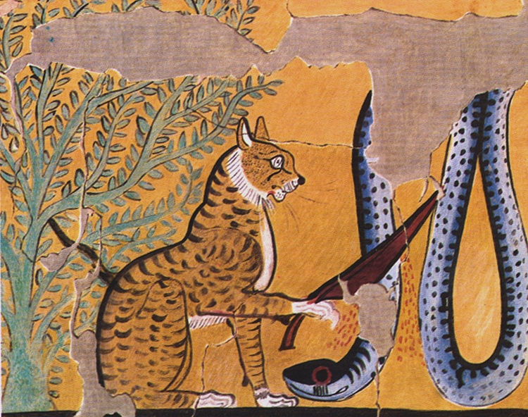 Egyptian Painting of a Cat Killing a Serpent