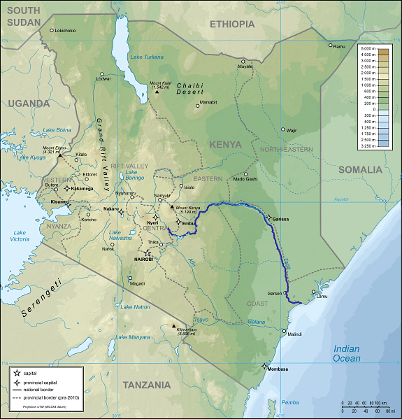 Map of Kenya with Tana River Indicated