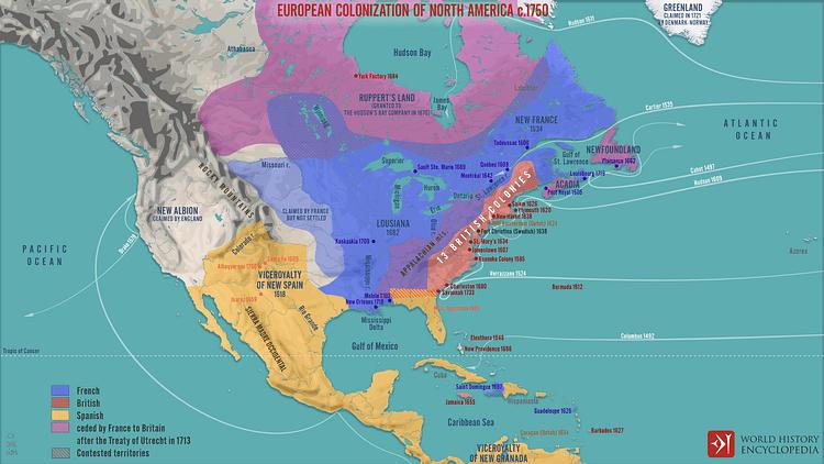 European Colonization of North America c.1750