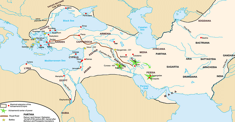 Achaemenid Empire Map (Fabienkhan)