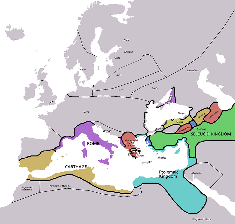Map of Europe in 220 BC (Astrokey44)