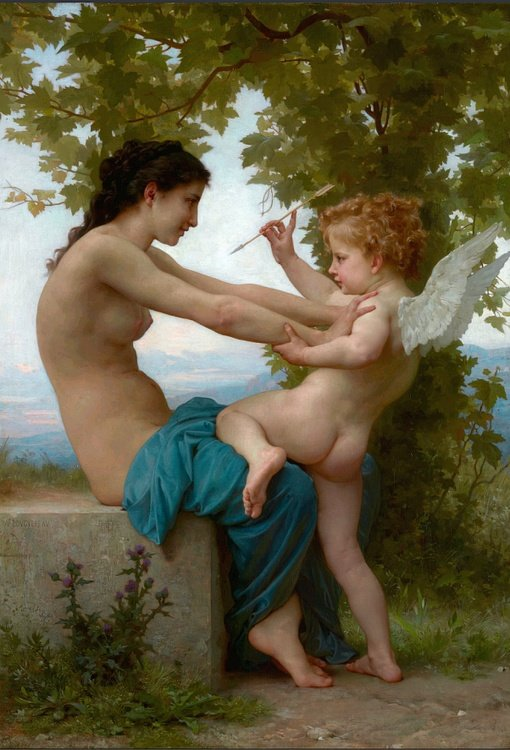 A Young Girl Defending Herself Against Eros