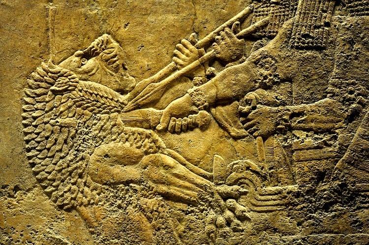 Escena de caza de leones, rey Ashurbanipal ()