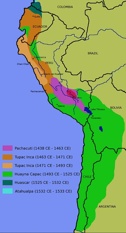 Map of the inca Empire (Wikipedia User: Zenyu)