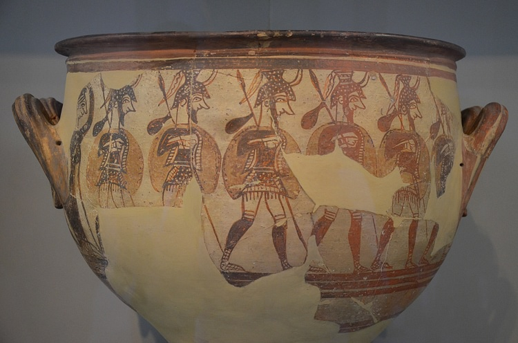 Mycenaean Krater With Warriors
