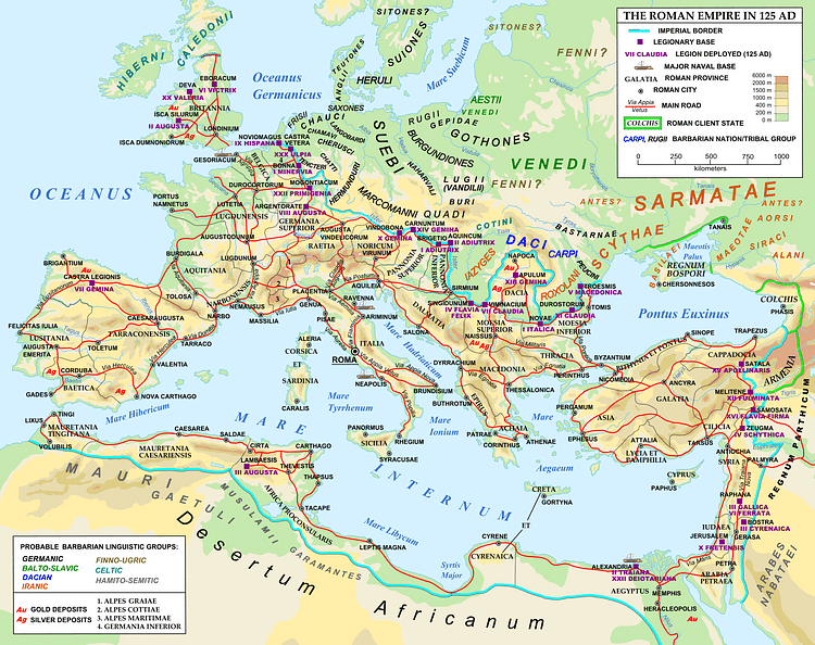 Map of the Roman Empire in 125 CE