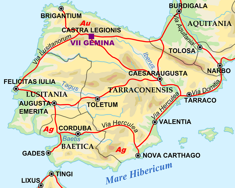 Map of the Iberian Penninsula in 125 AD