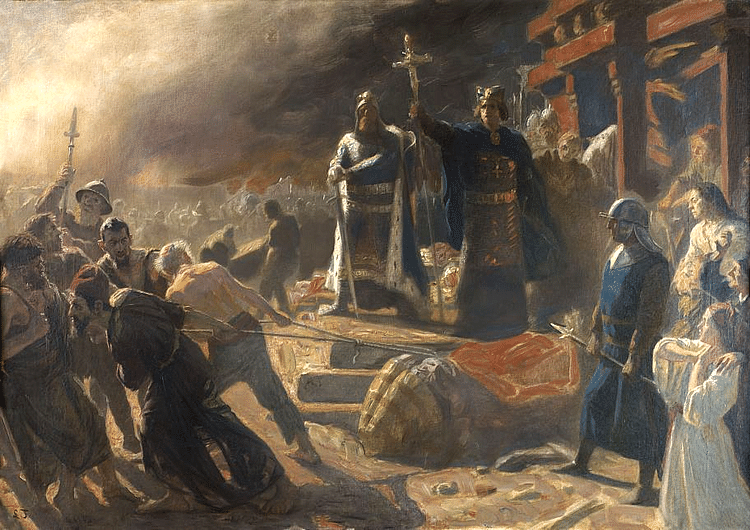 Bishop Absalon topples the god Svantevit at Arkona (Laurits Tuxen)
