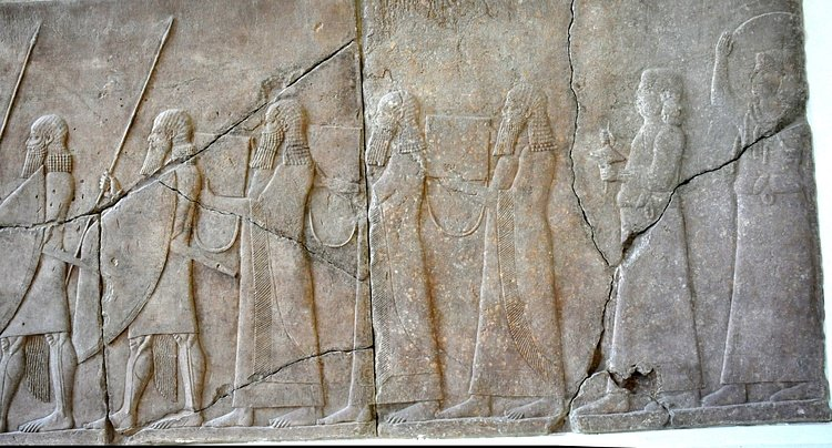 Assyrian wall relief depicting musical instruments