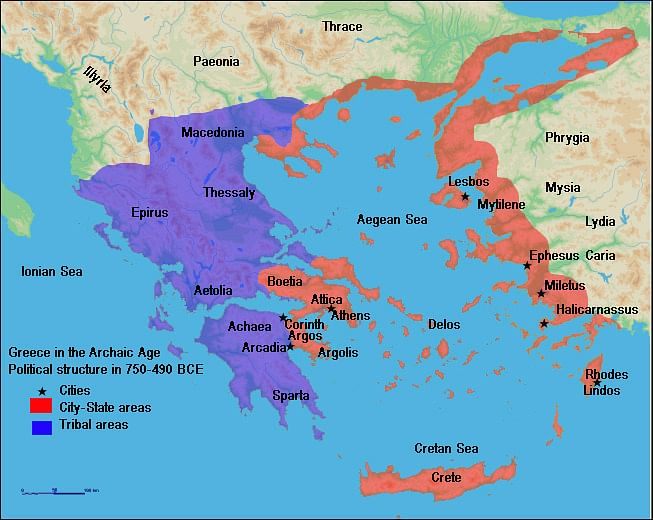 Map Of Archaic Greece Illustration Ancient History Encyclopedia - Political map of greece