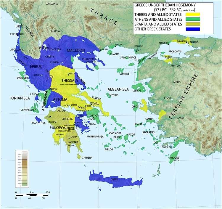 Map of Greece under Theban Hegemony (Megistias)