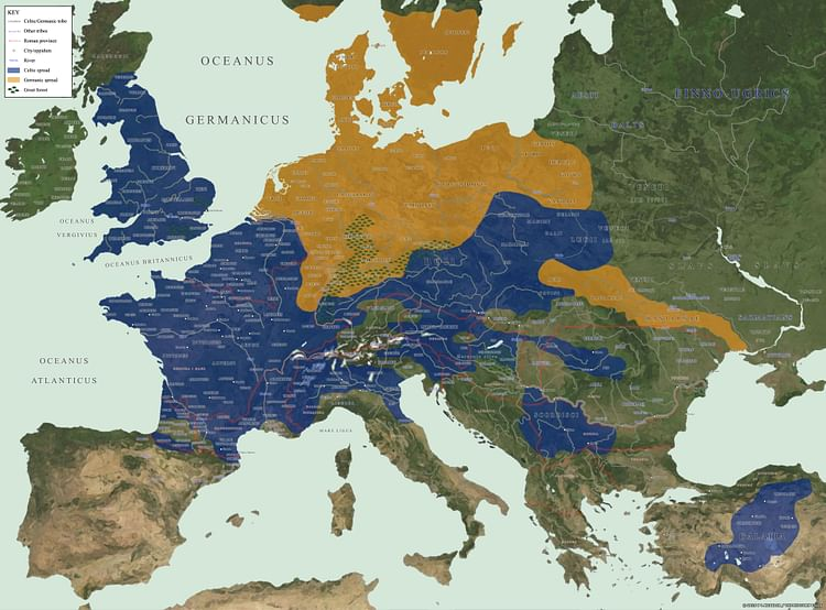 Map of Celtic and Germanic Tribes