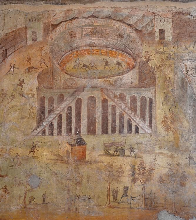Fresco Showing the Riot of 59 CE in the Amphitheatre of Pompeii