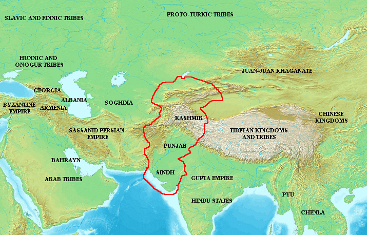 Extent of the White Huns' Influence c. 500 CE
