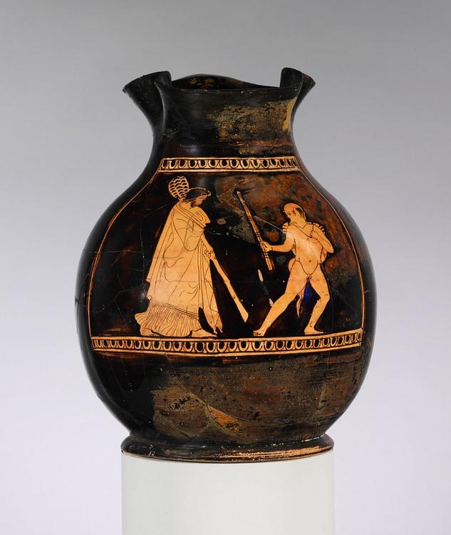 Chous que representa a Dionysos y Satyr (Museo Metropolitano de Arte)