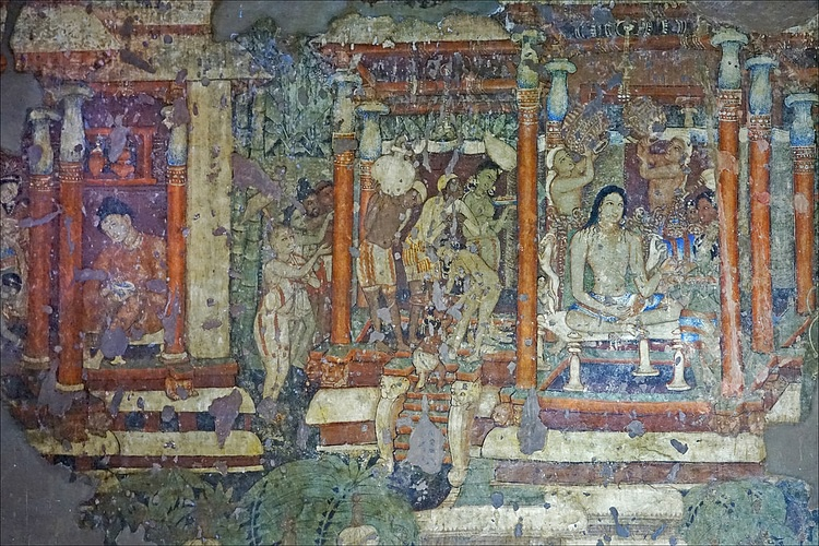 Murals of ajanta cave illustration ancient history for Ajanta mural painting