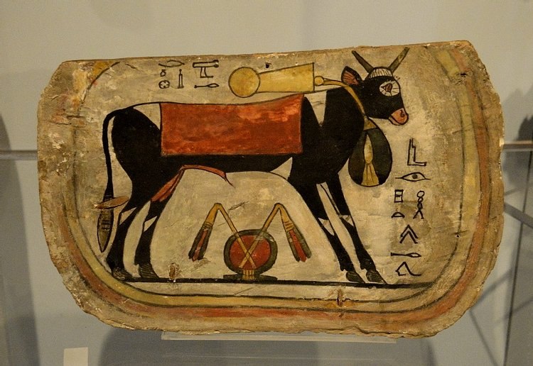 Painted Coffin Footboard with Apis Bull