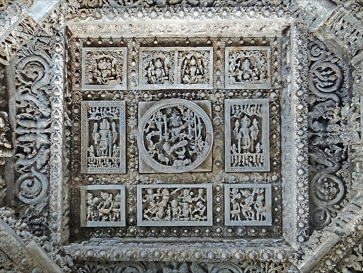 Ceiling Decoration in Hoysaleswara Temple, Halebidu