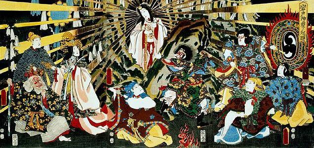 Amaterasu emergiendo del exilio (Utagawa Toyokuni III)