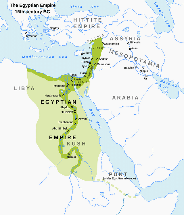 Egyptian empire ancient history encyclopedia map of the new kingdom of egypt 1450 bce andrei nacu gumiabroncs Images