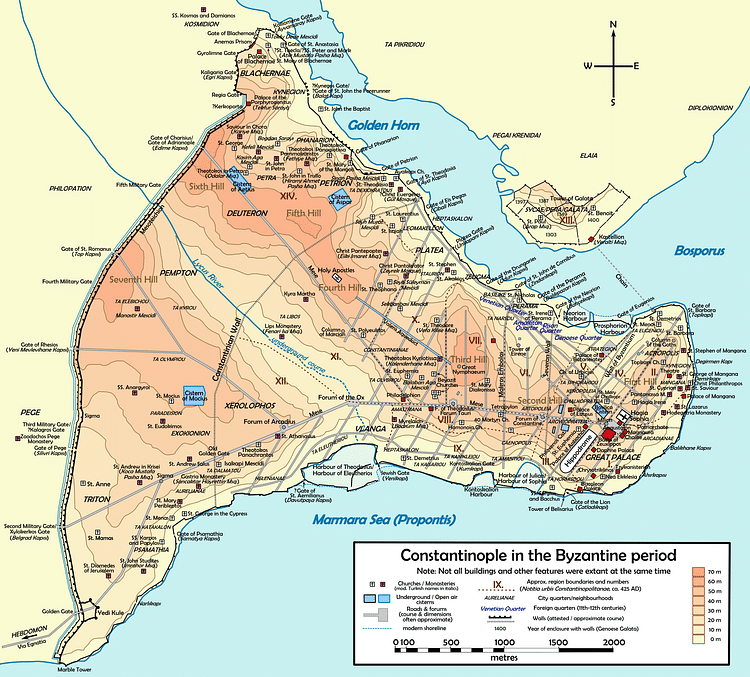 Map of Byzantine Constantinople (Cplakidas)