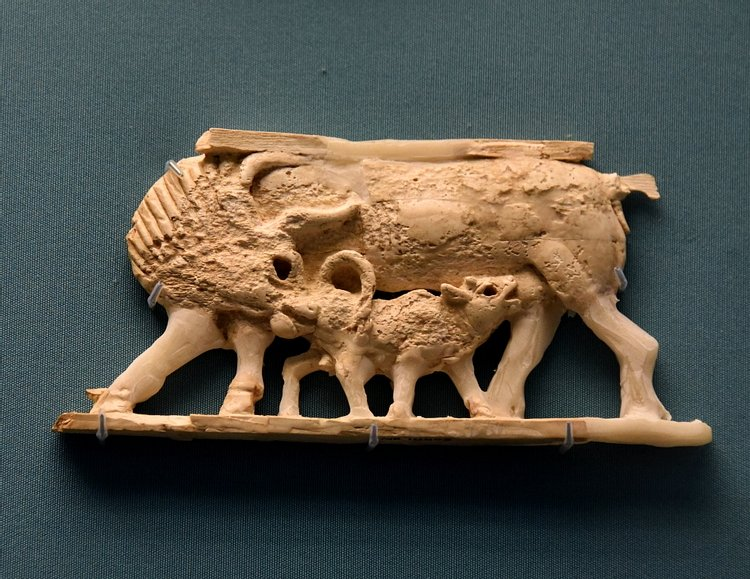 Nimrud Ivory Panel of a Suckling Calf