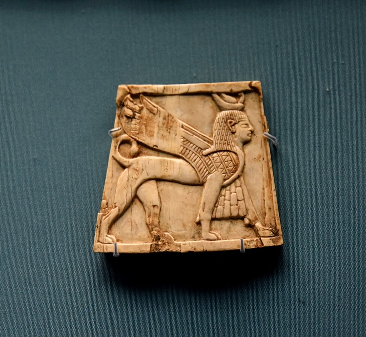 Nimrud Ivory Panel of a Winged Sphinx
