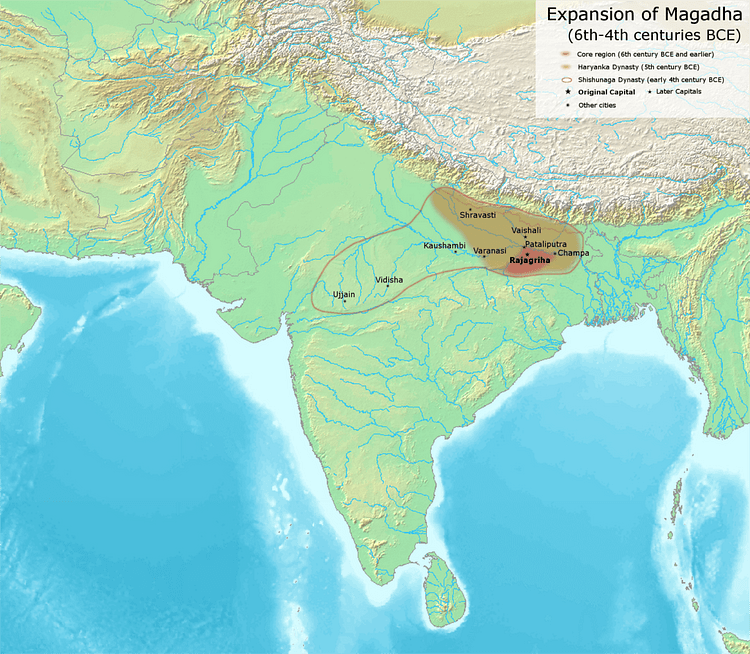 the kingdom of magadha Magadha (mŭ´gädə), ancient indian kingdom, situated within the area of the modern states of bihar and jharkhand its capital was pataliputra (now patna ) the kingdom rose to prominence in the mid-7th cent.
