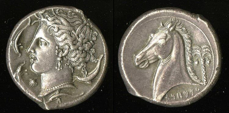 Tetradracma de plata cartaginesa (Museo Británico)