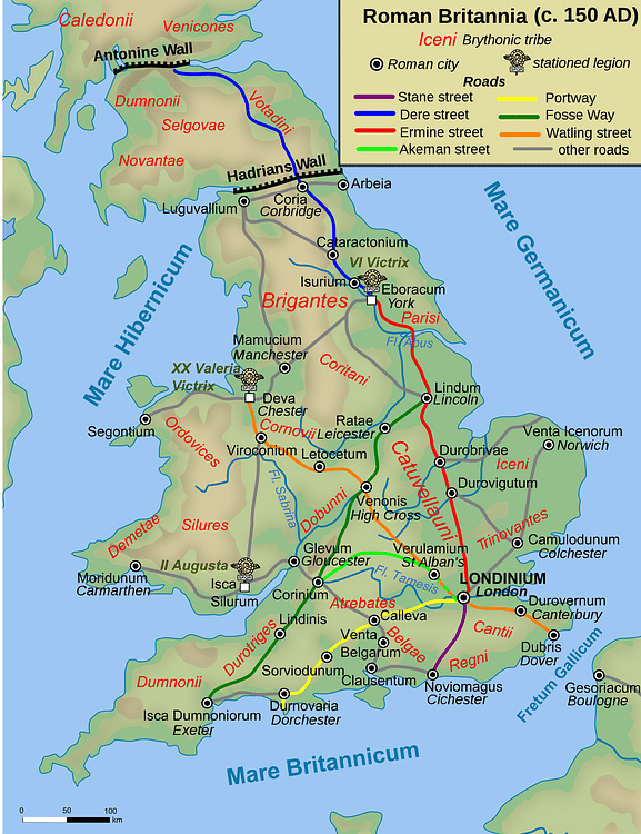 Map of Roman Britain, 150 AD (Andrei nacu)
