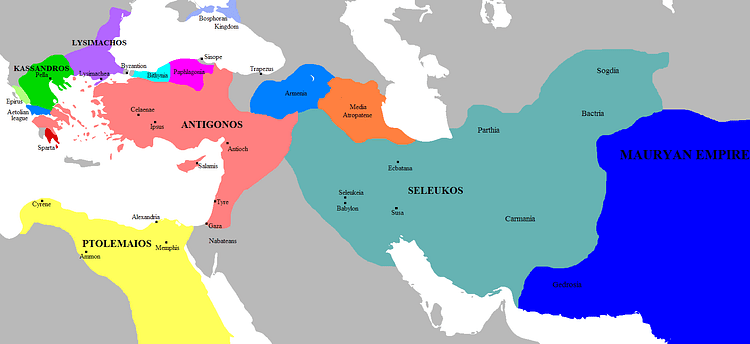 Map of the Successor Kingdoms, c. 303 BCE (Javierfv1212)
