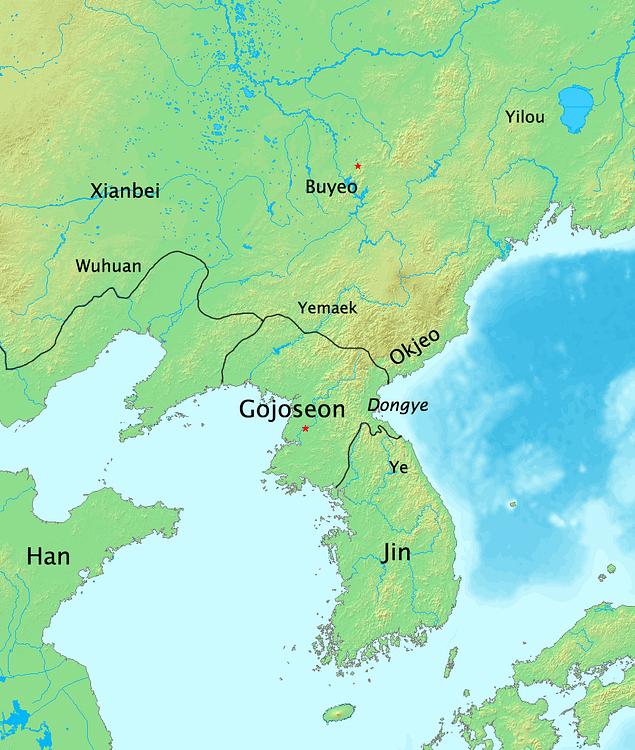 Mapa de los estados coreanos en 108 aC (historiógrafo)