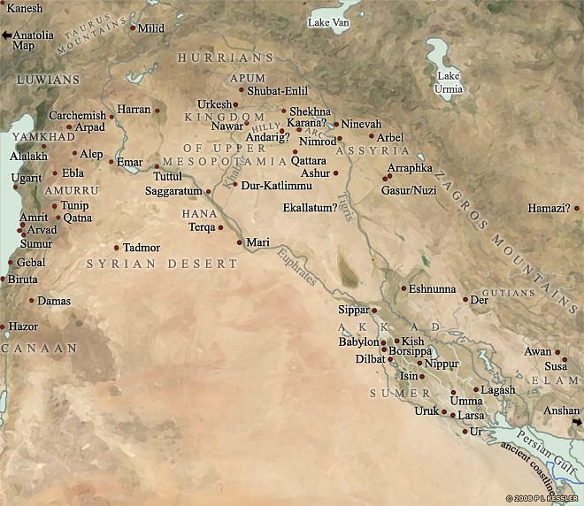 Where Is Mesopotamia On A World Map.Map Of Mesopotamia 2000 1600 Bc Illustration Ancient History