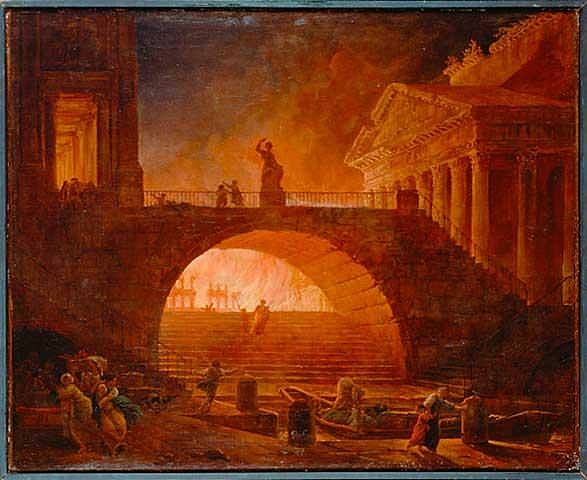 The Great Fire of Rome, 64 CE. (Hubert Robert)