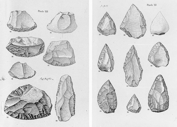 Drawings of Middle Palaeolithic Tools: Points & Scrapers