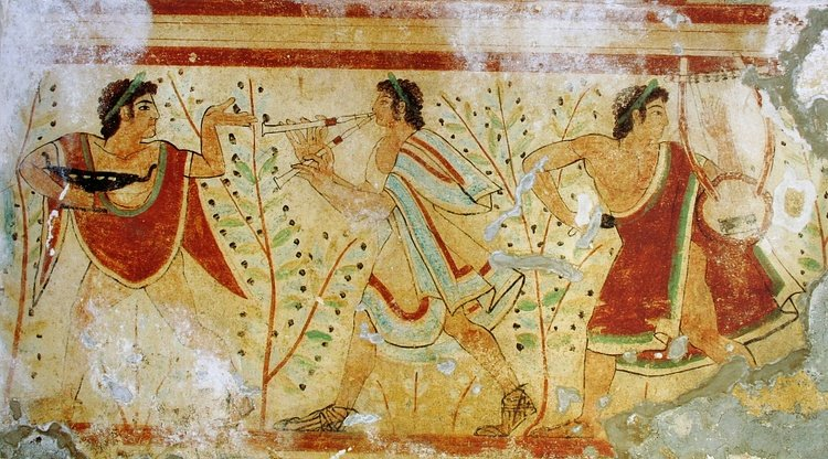 Musicians Wall-painting, Tarquinia (Yann Forget)