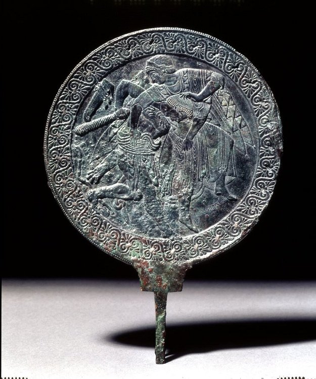 Etruscan Bronze Mirror Showing Hercules