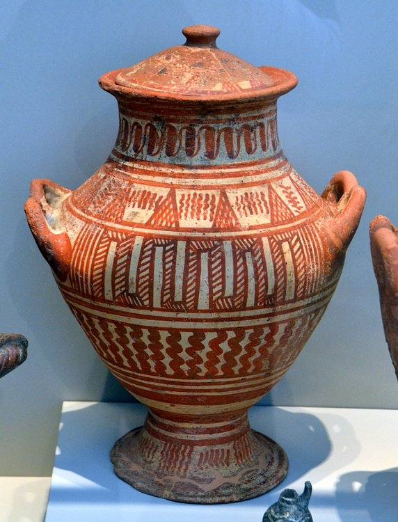 Etruscan Red on White Pottery Vessel