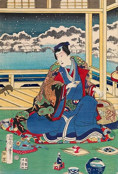 Genji Viewing Snow from a Balcony (Kunichika Toyohara)