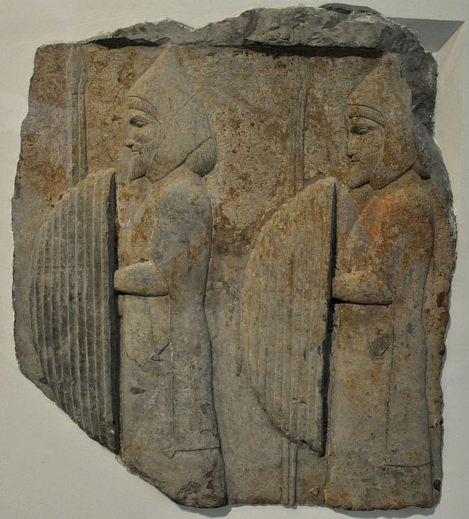 Men with shields and spears from Persepolis