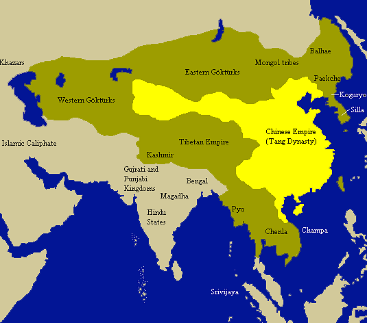 Tang empire neighbouring states illustration ancient history a map indicating the extent of the tang empire 618 907 ce and its neighbouring states and tribes people sciox Choice Image
