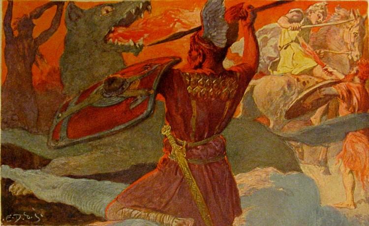 Odin lucha contra Fenrir (Emil Doepler)