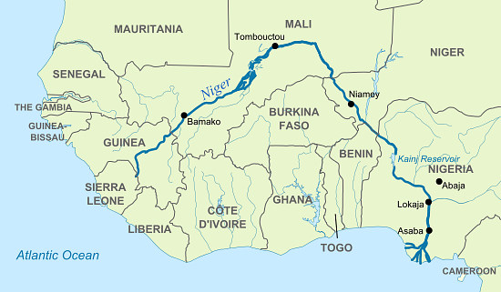 Niger River Map Map of Niger River (Illustration)   Ancient History Encyclopedia Niger River Map