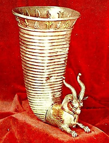 Silver Orontid Rhyton (Aryamahasattva)